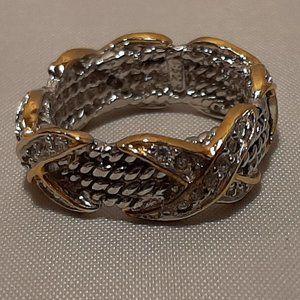 Designer Inspired 2 Tone Sterling Silver Ring Sz 6